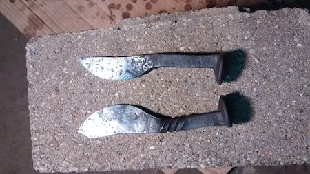 Finished Railroad Spike Knives