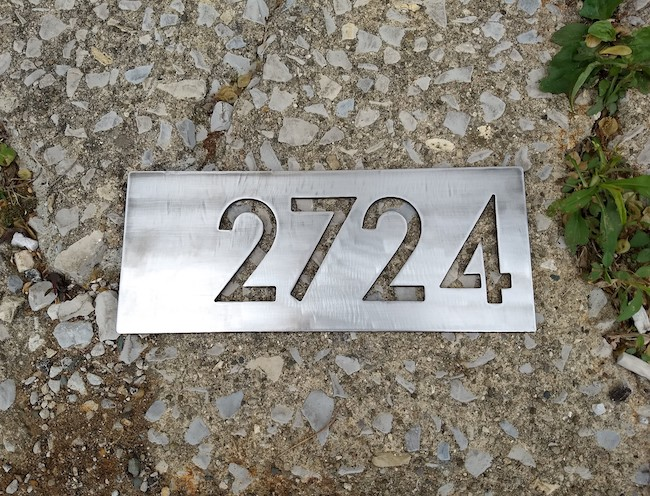 Stainless Steel Address Plate 3 - Brown County Forge
