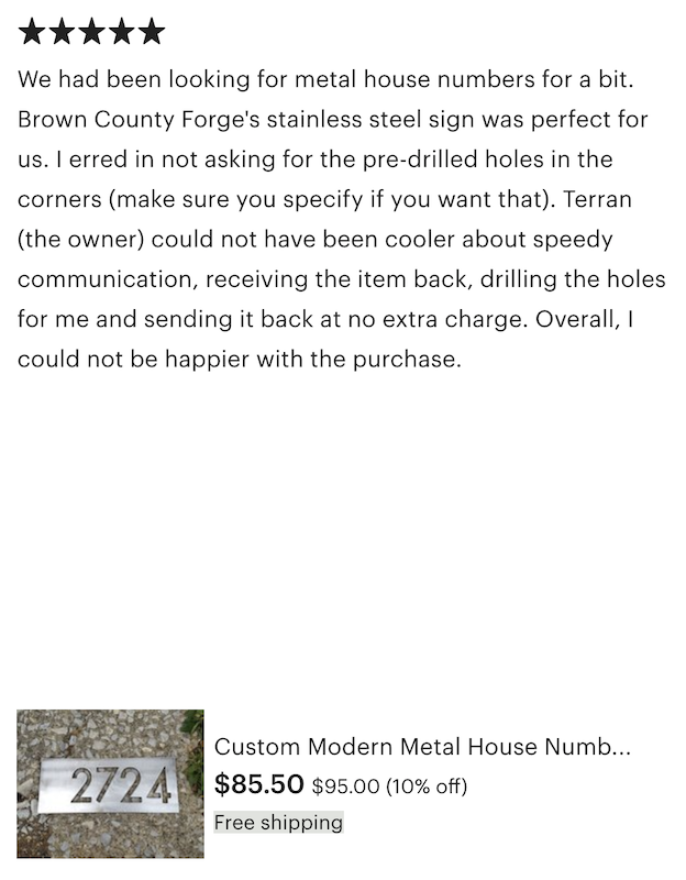 Metal House Numbers Review California - Brown County Forge
