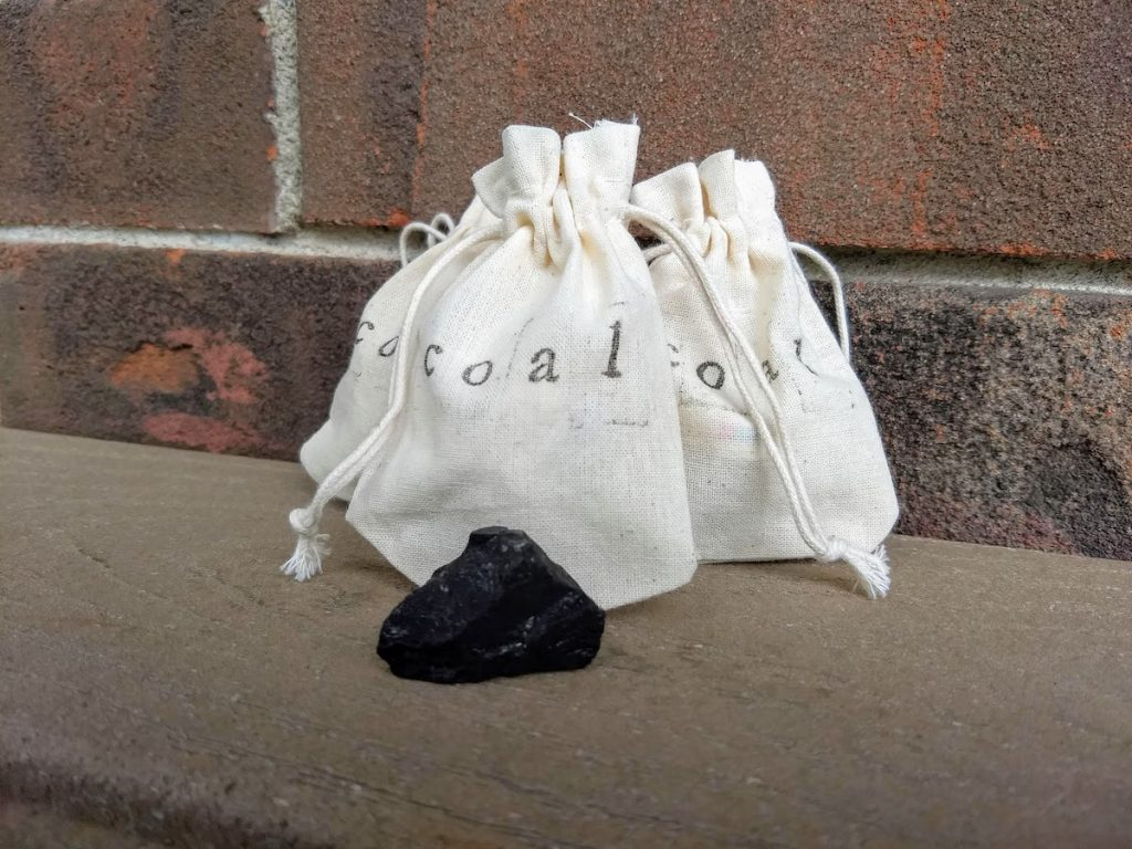 Three Small Bags of Coal - Lump of Coal - Christmas Coal - Brown County Forge